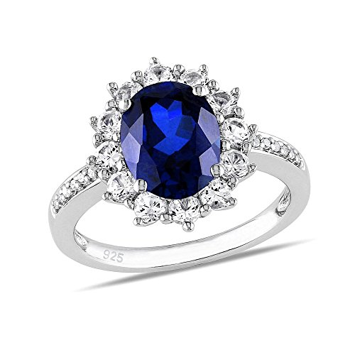 Silver Ring Princess Kate Blue Sapphire Synthetic 925 Sterling Silver