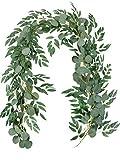 Famibay Künstlich Eukalyptus und Weidenranken Girlande Grün Blätter Girlande für Hochzeit Zuhause Dekoration(1 Stück)