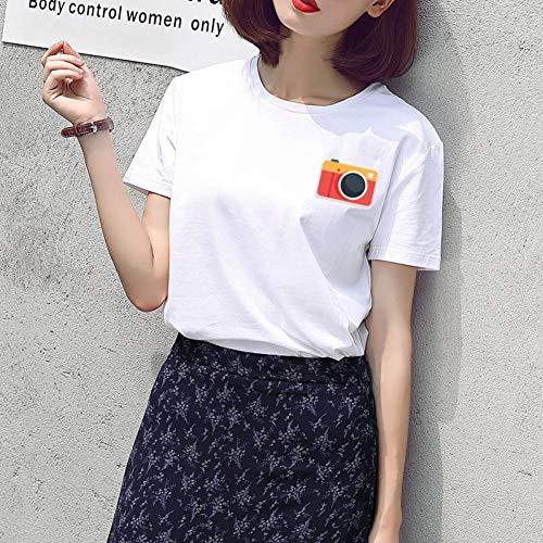 TYML Frauen 1980 Cute Bear T-Shirts Solide Kurzarm Weiß Beiläufige Weibliche Top Comic Cartoon Style Sommer Drucken Brief DIY T-Shirt