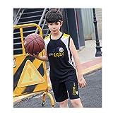 JX-PEP Juego de Tejidos de Baloncesto Masculino/Infantil, Kit de Deportes de Uniforme de Baloncesto para Hombres universitarios, Camisa de césped de niño Camisa Traje Traje Transpirable,Negro,150CM