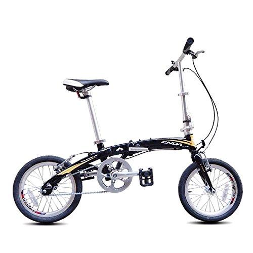 MASLEID 16 Zoll Aluminium Klapprad Einzel Geschwindigkeit Faltrad Mini-Bike, Black Gold