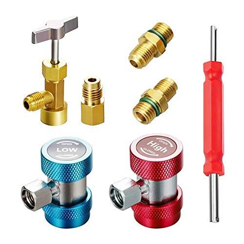 Núcleo de válvula de aire acondicionado 3-en-1 kit de herramienta de AC, AC Adaptadores R134A con acopladores rápidos puede golpear ligeramente la válvula y la válvula principal Remover Latón