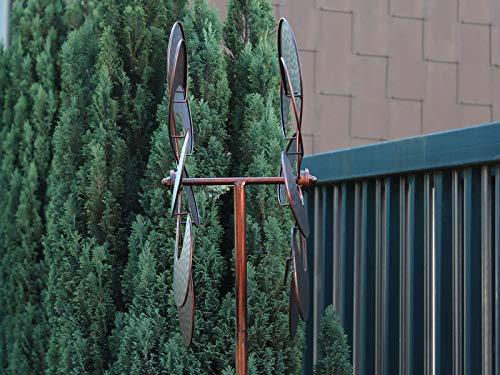 HAFIX Windrad Metall Blumenmuster Windspiel Metallwindrad Gartendeko rund Wind Mühle mit Erdspieß - 6