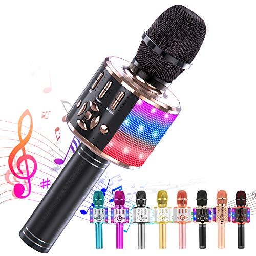 Ankuka Karaoke Wireless Microphone Bluetooth for Kids, Portable 4 in 1 Karaoke Machine Speaker with LED Lights, Christmas Home, Birthday Party Toys Gifts for Girls, Boys and Adults (Black Gold)