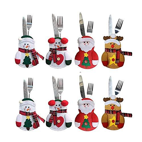 junao 8 Piezas Cubiertos de Navidad Cubiertos, Porta Cubiertos de Navidad, Porta Cubiertos de Navidad Traje, Decoración de Fiesta, Regalos, Fiesta de Navidad, Multicolor