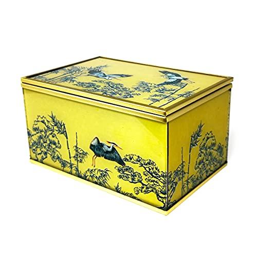 Schmuckkästchen aus Glas, Senf, goldfarben, Metall-Finish, blauer Reiher japanisches Design, 15,2 cm