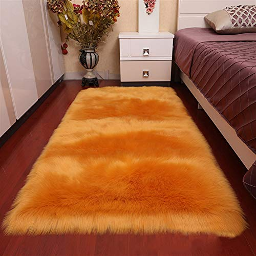 Insun Alfombras de Pelo Largo Alfombra de imitación de Piel de Cordero Mullida Alfombra Rectangular para Salón Dormitorio Sofá Silla Cojín Naranja 60x120cm