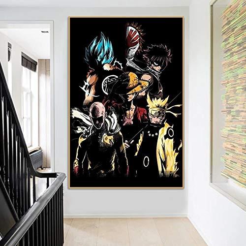 Puzzle 1000 piezas Goku Naruto Luffy Imagen de arte de personaje de dibujos animados de anime japonés puzzle 1000 piezas clementoni Rompecabezas de juguete de descompresión in50x75cm(20x30inch)