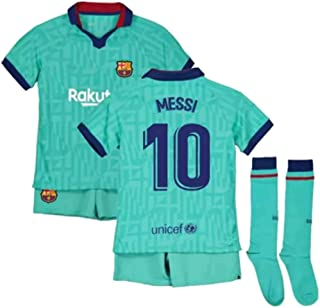 Messi #10 2019-2020 FC Barcelona Kids/Youths Third Soccer Jersey/Short/Socks Colour Green
