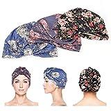 3 turbantes para mujer, nudo, capó pre-atado, turbante de patrón africano para baño, dormir, maquillaje, deportes al aire libre