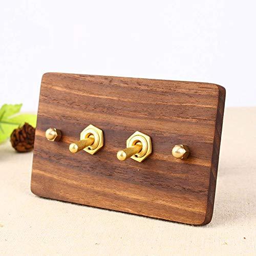Tritow Interruptor de luz de Pared de Madera marrón Tipo 118 Antiguo, Palanca de latón, Interruptor de Palanca de 2 vías de Control Doble Individual, 2-4 pandillas para pasillos