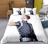Tres piezas de funda de edredón for mi héroe Academia Todoroki Shoto Hermoso estilo, animado 3D edredón almohada, 100% poliéster, suave y cómodo, ropa de cama de Otaku del animado y aficionados, el me