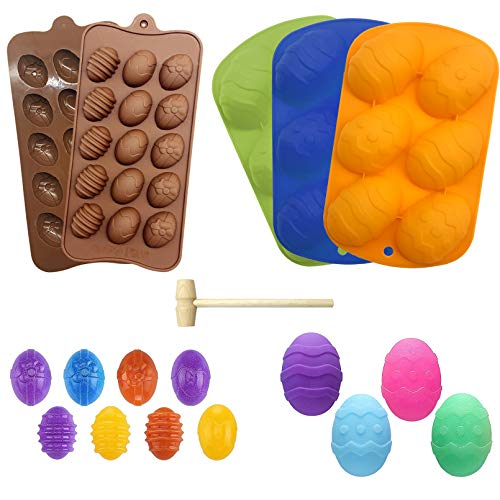 Tlswshsy 5 Pieces Easter Egg Chocolate Candy Molds Easter Silicone Treat Mold Half Egg Mold with 1 Wooden Hammer Easter Candy Cookie Molds for Party Jelly Ice Cube Cupcake Soap