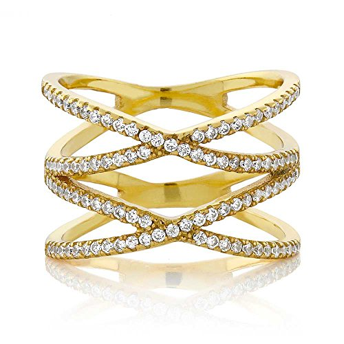 18K Yellow Gold Plated Silver Round White Zirconia CZ Double'x' Criss-Cross Ring 1.20 cttw (Size 5)