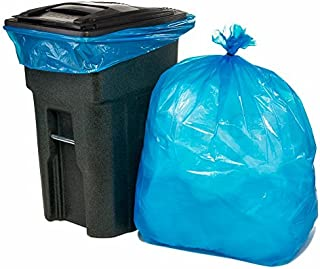 """Plasticplace 64-65 Gallon Recycling Trash Bags for Toter │1.5 Mil │ Blue Heavy Duty Garbage Can Liners │ 50"""" x 60"""" (50 Count)"""