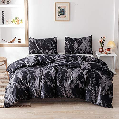 Smoofy Queen Comforter Set Black Marble Pattern Printed Bed Comforter Soft Fabric with Brushed product image