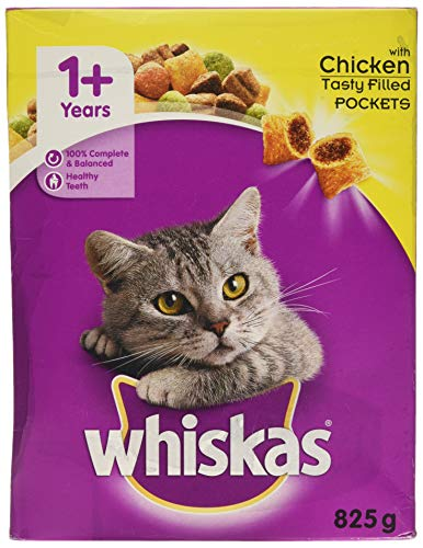 Whiskas 1+ Dry Cat Food for Adult Cats Kibble with Tasty Chicken, 825g