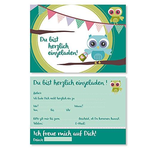 15 Einladungskarten mit Eulen-Motiv I dv_013 I DIN A6 I Einladung Set Kinder-Geburtstag zur Taufe Einschulung zum Ausfüllen für Kinder Jungen Mädchen