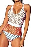 CUPSHE Mujer Bañador Estampado Traje de baño con Espalda Cruzada Traje de Baño de Una Pieza Multicolor L