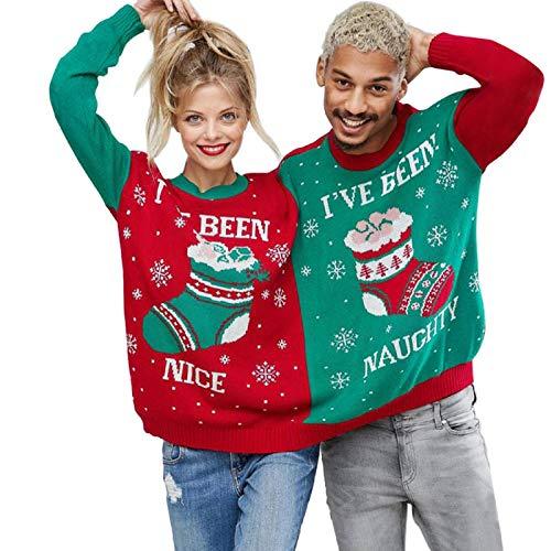 Fuumiol Weihnachtspullover, für Herren und Damen, mit Weihnachtsmotiv, für 2 Personen, Grün - Mehrfarbig - X-Large