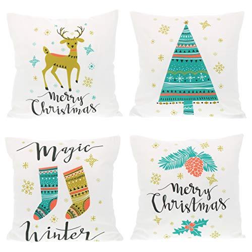 SHIPITNOW 4 x poszewki na poduszkę na Boże Narodzenie 45 x 45 cm – motyw dzieci renifery, choinka i skarpety, kolor biały, zielony i złoty – kwadratowy kształt – 100% poliester – dekoracja na sofę