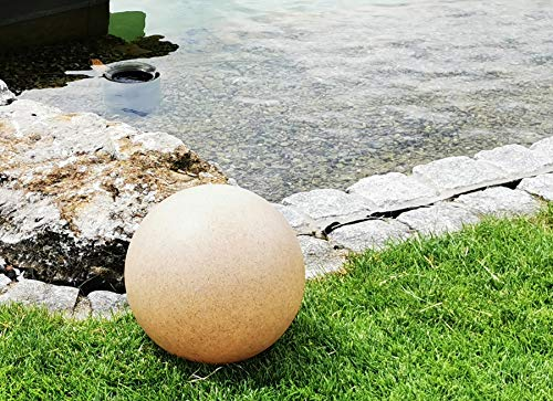 Trango 300S Gartenkugel IP65 Kugelleuchte 30cm Durchmesser in Sandstein-Optik *SANDSTONE* mit je 5 Meter Zuleitungskabel & E27 Fassung Kugellampe, Gartenleuchte, Außenleuchte, Außenlampe