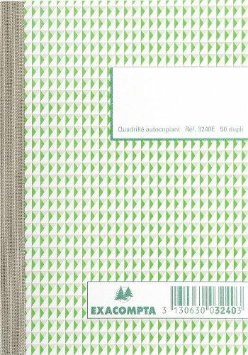Exacompta 3240E Durchschreibbuch kariert 5x5 14,8/10,5 50 Blatt doppelt durchschreibend 10er Pack