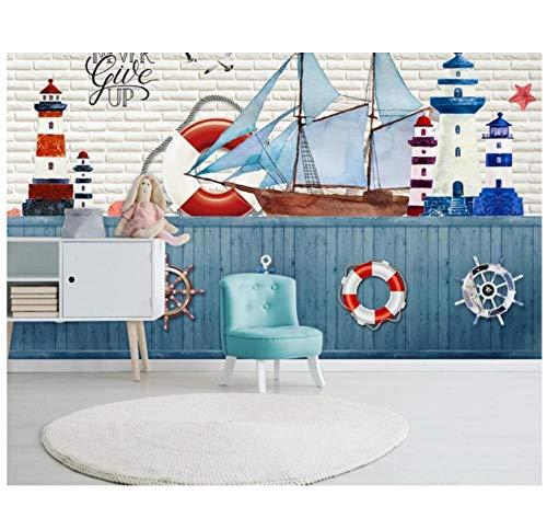 Mittelmeer Stil Segeln Leuchtturm Rettungsring Ruder Kinderzimmer Hintergrund Wanddekoration Tapete Wandbilder HD-Druck Kunst
