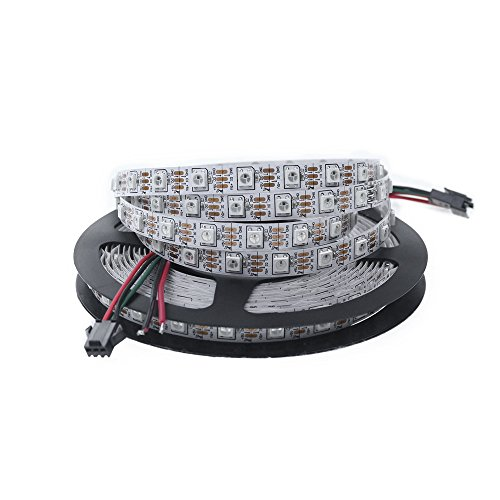 ALITOVE 16.4ft WS2812B Individually Addressable RGB LED Flexible Strip Light 5m 300 Pixels 5050 SMD DC5V White PCB Not Waterproof DC 5V
