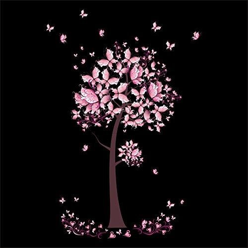 Rose Papillon Fleur Arbre Stickers Muraux Stickers Filles Femmes Fleur Mural Vinyle Papier Peint Maison Salon Chambre Décor