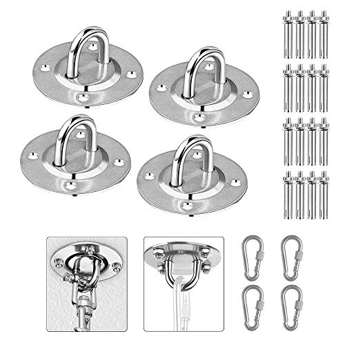 N A 4Pcs Stainless Steel Ceiling Hooks, Professional Heavy Duty Hammock Hooks for Hanging Swing Chair Yoga Swing Punching Bag, Indoor Outdoor GYM Use, Load Capacity up to 400 KG (U)