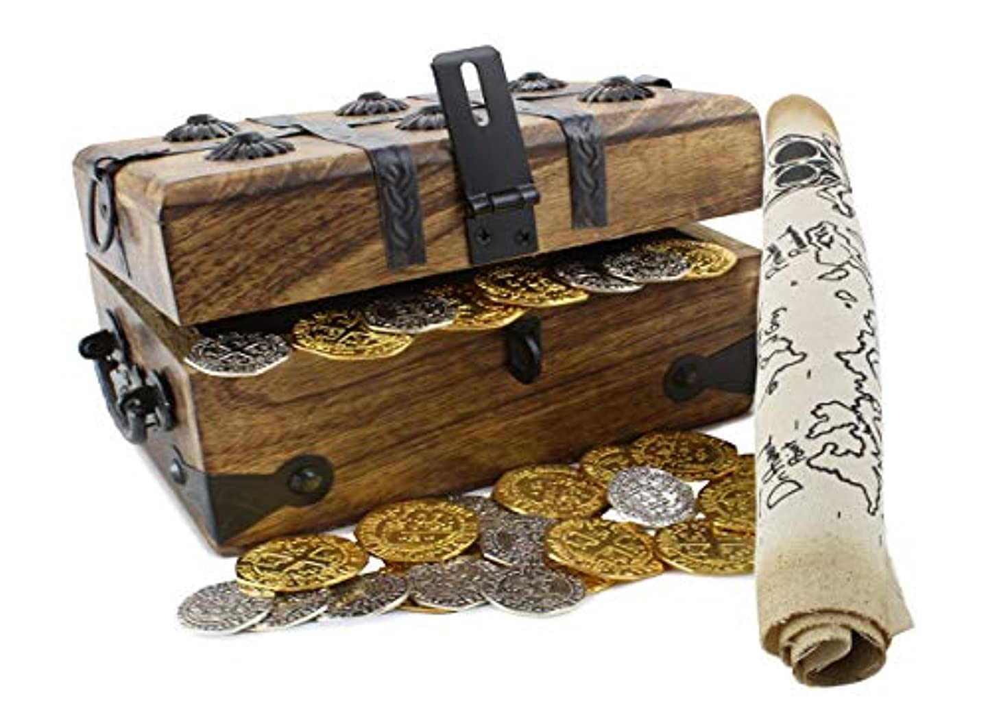 Pirate Treasure Chest Metal Coins Map Gold Silver Antique Finish Party Favor By Well Pack Box gbwvmrghlpzc