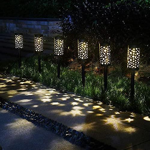 Clicked Lámpara Solar para Jardín, Luces Solares para Jardín Luz Exterior IP44 Impermeable Jardin Solares Exterior Luces de Decoración para Caminos de Jardín para Césped Patio Pasillo, 6 Piezas