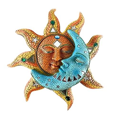 Btlesa Decoración de pared de metal, diseño de sol y luna, decoración de jardín en 3D, decoración de pared, decoración para pared, balcón, terraza o porche
