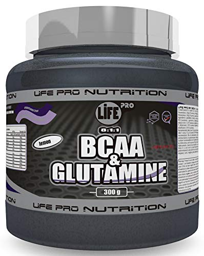Life Pro BCAA + Glutamina Ajinomoto | Suplemento con BCAA's 8:1:1 y Glutamina con Fórmula Patentada Ajinomoto 300g, Sabor Limón