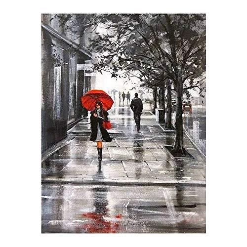 ACCEY Mujer con paraguas rojo pintura de diamantes retrato redondo taladro completo Nouveaute DIY...
