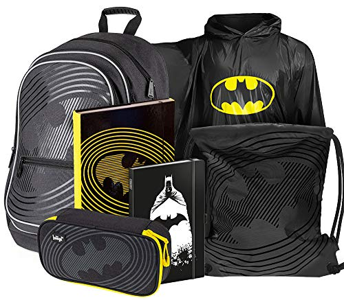 Schulrucksack Set 6 Teilig für Jungen, Schultasche ab 3. Klasse, Grundschule Ranzen mit Brustgurt, Ergonomischer Schulranzen (Batman)