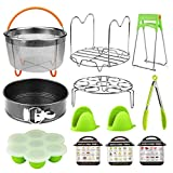 Pressure Cooker 12 in 1 Accessories Set for Instant Pot 6,8 Qt Includes Vegetable Steamer Basket, Springform Pan, Egg Steamer Rack, Dish Clip, Steam Rack Trivet Magnetic Cheat Sheets.