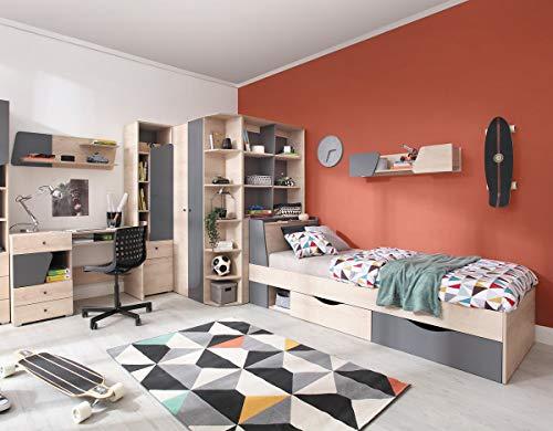 QMM Traum Moebel Jugendzimmer Kinderzimmer komplett Davis Set C Eckschrank Schreibtisch Bett 120x200 Regale