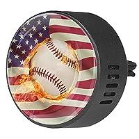 車のアロマセラピーディフューザーベントクリップアメリカの国旗火災野球スターストライプ 芳香剤エッセンシャルオイル香の香り2パック