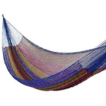 NOVICA Orange Purple Blue Striped Tropical Hand Woven Nylon Mayan 2 Person XL Rope Hammock Rainbow Seascape   Double