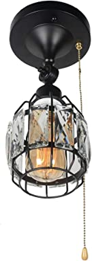 Baiwaiz Crystal Cage Semi Flush Mount Light with Pull Chain, 1-Light Black Metal Mini Modern Industrial Ceiling Light Adjustable Small Round Wall Sconce Lamp Pull String Light Fixture Edison E26 133
