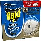Raid 2 Recharges pour Diffuseur Électrique à Sable Compressé, Anti-Moustiques, Moustiques Tigres, Mouches et Fourmis, Night & Day Trio, Insecticide - Lot de 2