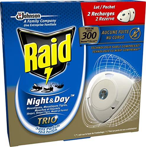 Raid 2 Recharges pour Diffuseur Électrique à Sable Compressé, Anti-Moustiques, Moustiques Tigres, Mouches et Fourmis, Night & Day Trio, Insecticide