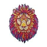 Puzzle a forma di animale,puzzle di forma in legno di unica, giocattoli creativi di decompressione per puzzle per adulti e bambini,miglior regalo per la collezione di giochi (Color:Lion King 186 pcs)