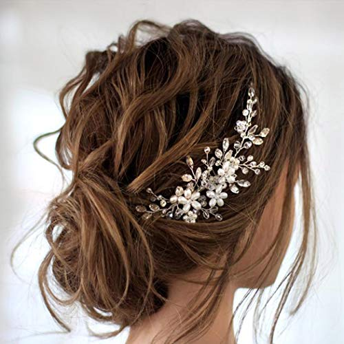 Jakawin Bride Wedding Hair Comb Flower Girls Bridal Hair Accessories Hair Piece for Women and Girls HC034