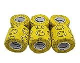 SMILEY AMARILLO Vendaje cohesivo Estirada 6 Rollos x 5cm x 4.5m Vendajes autoadhesivos flexibles, calidad profesional, vendajes de envoltura deportiva de primeros auxilios - Paquete de 6