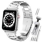 Hianjoo Cinturino Compatibile per Apple Watch 42 mm / 44 mm, Acciaio Inossidabile Braccialetto di Ricambio Cinturini Compatibile con Apple iWatch Series SE/6/5/4/3/2/1 - Argent
