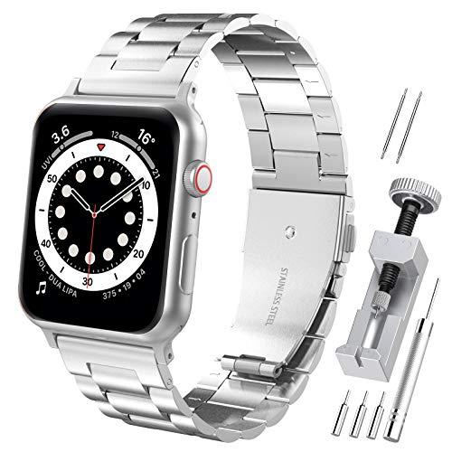 Hianjoo Cinturino Compatibile per Apple Watch 42 mm / 44 mm, Acciaio Inossidabile Braccialetto di Ricambio Cinturini Compatibile con Apple iWatch Series SE/6/5/4/3/2/1 - Argento