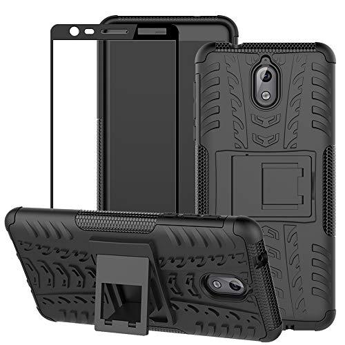 BestAlice Funda Piel para Nokia 3.1 (5.2″) Case Protector de Pantalla de Cristal Templado, Híbrida…